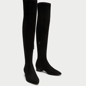 Zara COMBINED FLAT OVER-THE-KNEE BOOTS size 6